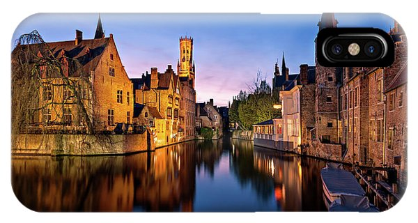 IPhone Case featuring the photograph Bruges Canals At Blue Hour by Barry O Carroll