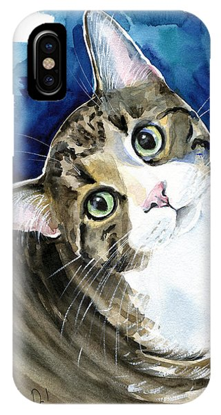Bubbles - Tabby Cat Painting IPhone Case
