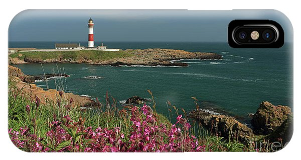 Buchan Ness Lighthouse And Spring Flowers IPhone Case