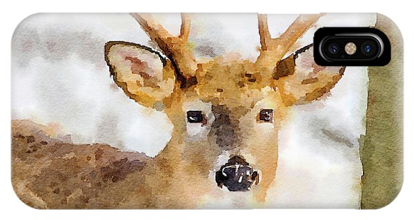 IPhone Case featuring the painting Buck Profile by Steven Santamour