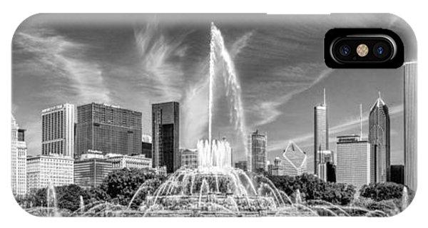 Buckingham Fountain Skyline Panorama Black And White IPhone Case
