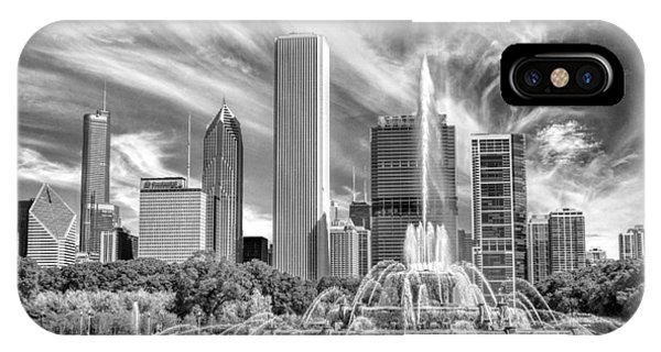 Buckingham Fountain Skyscrapers Black And White IPhone Case