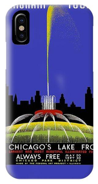 Buckingham Fountain Vintage Travel Poster IPhone Case