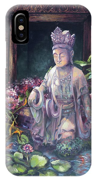 Budda Statue And Pond IPhone Case