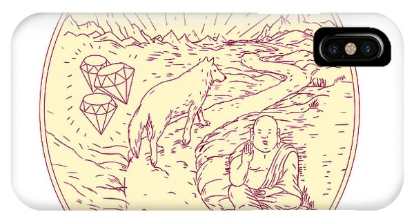 Buddha And Wolf On Road Diamonds Drawing IPhone Case