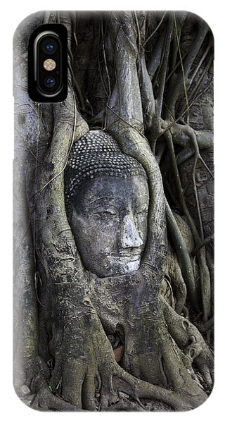 Buddhism iPhone Case - Buddha Head In Tree by Adrian Evans
