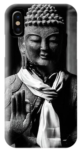 Buddha Statue In Black And White IPhone Case