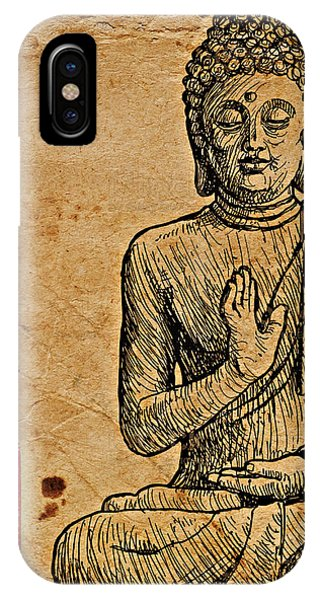 IPhone Case featuring the drawing Buddha The Minimalist by Lita Kelley