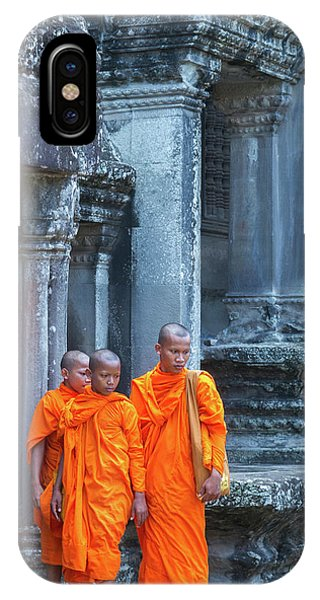 Angkor Thom iPhone Case - Buddhist Monks Cambodia by Stelios Kleanthous