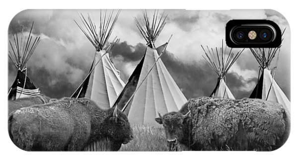 Buffalo Herd Among Teepees Of The Blackfoot Tribe IPhone Case