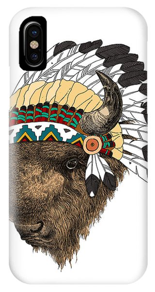 American Indian iPhone Case - Buffalo With Indian Headdress In Color by Madame Memento