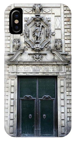 Building Artwork And Old Door In Barcelona IPhone Case