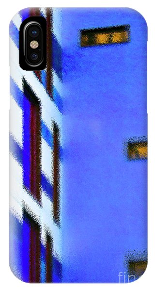 IPhone Case featuring the digital art Building Block - Blue by Wendy Wilton