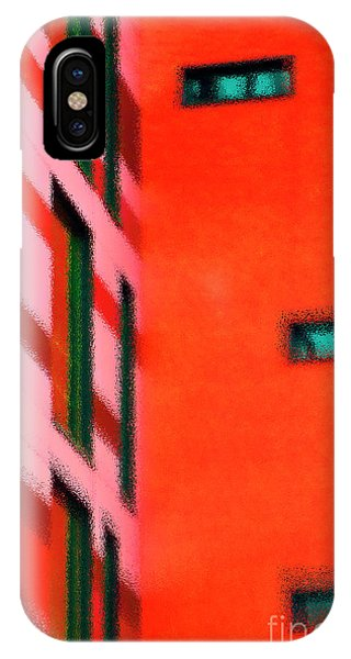 IPhone Case featuring the digital art Building Block - Red by Wendy Wilton