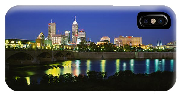 Buildings Lit Up At Dusk, Indianapolis IPhone Case