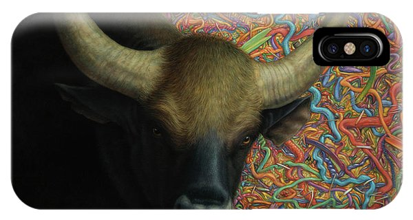 Bull iPhone Case - Bull In A Plastic Shop by James W Johnson