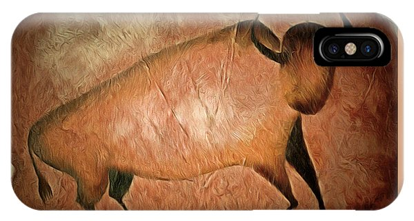 Simple iPhone Case - Bull Like Cave Painting - Primitive Art by Michal Boubin