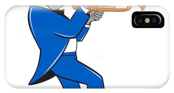 Bulldog Blowing Trumpet Side View Cartoon IPhone Case