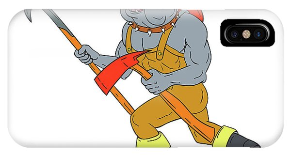 Bulldog Firefighter Pike Pole Fire Axe Drawing IPhone Case