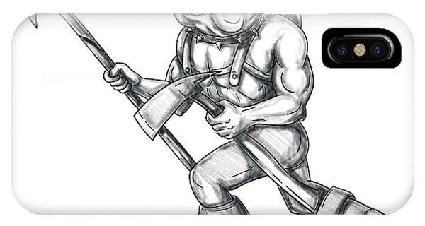 Bulldog Firefighter Pike Pole Fire Axe Tattoo IPhone Case