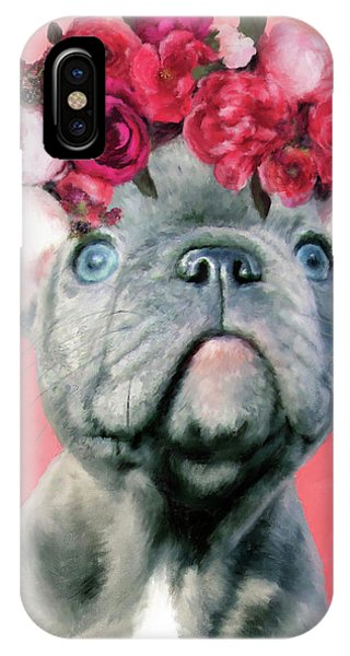 Bulldog With Flowers IPhone Case