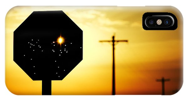 Silhouette iPhone Case - Bullet-riddled Stop Sign by Todd Klassy