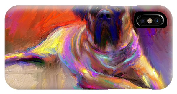 Bullmastiff Dog Painting IPhone Case