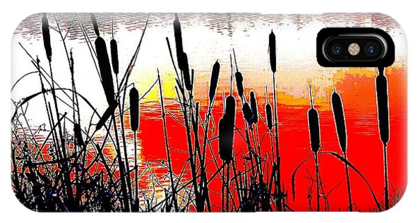 Bullrushes Against The Sunset IPhone Case