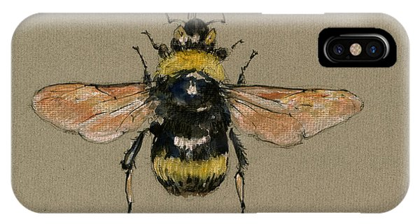 Bee iPhone X Case - Bumble Bee Art Wall by Juan  Bosco