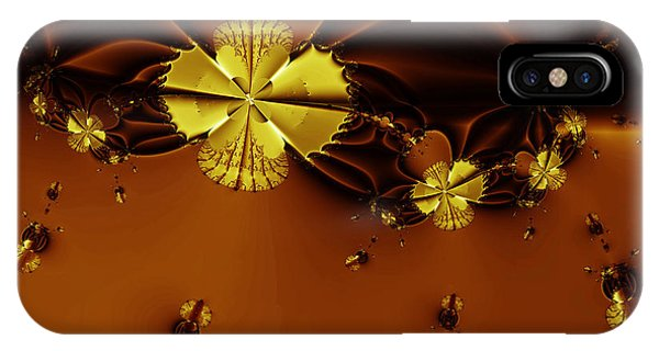 Julia Fractal iPhone X Case - Bumble Beez Over Chocolate Lake . Square . S19 by Wingsdomain Art and Photography