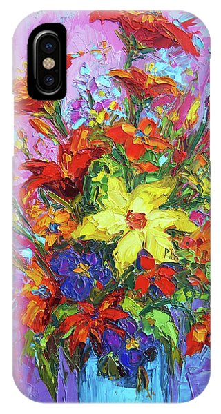 IPhone Case featuring the painting Colorful Wildflowers, Abstract Floral Art by Patricia Awapara