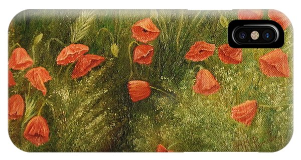 IPhone Case featuring the painting Bunch Of Poppies by Angeles M Pomata