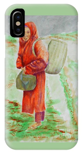 Bundled And Barefoot -- Portrait Of Old Asian Woman Outdoors IPhone Case