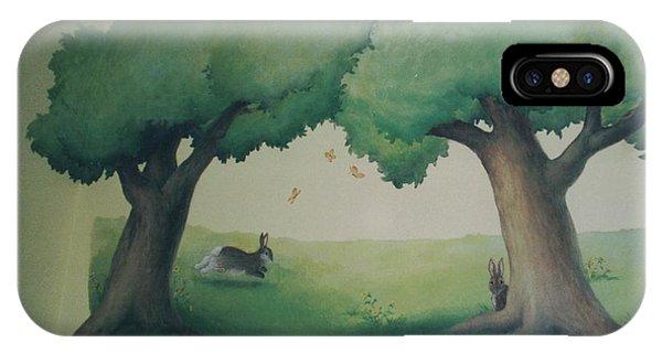 Bunnies Running Under Trees IPhone Case