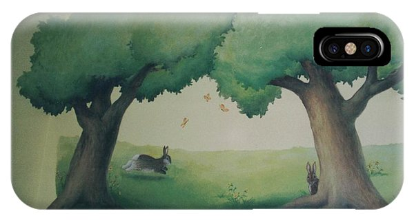 Bunnies Running Under Trees IPhone Case