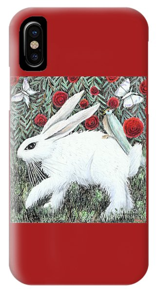 IPhone Case featuring the drawing Bunny With Hitchhiker by Lise Winne