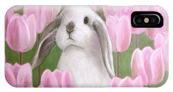Bunny With Tulips IPhone Case
