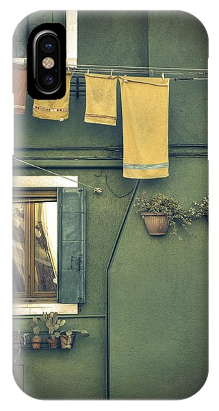 Green iPhone Case - Burano - Green House by Joana Kruse