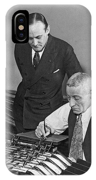 D.c. iPhone Case - Bureau Check Signing Machine by Underwood Archives