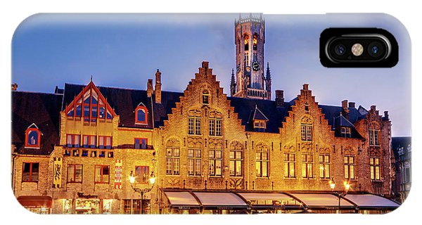 IPhone Case featuring the photograph Burg Square Architecture At Night - Bruges by Barry O Carroll
