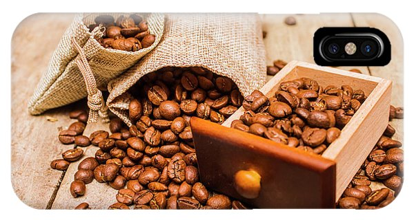 Cafe iPhone Case - Burlap Bag Of Coffee Beans And Drawer by Jorgo Photography - Wall Art Gallery