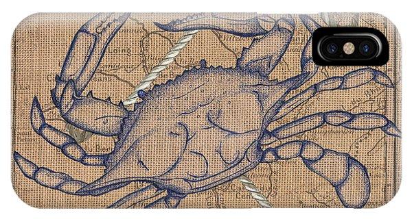 Claws iPhone Case - Burlap Blue Crab by Debbie DeWitt