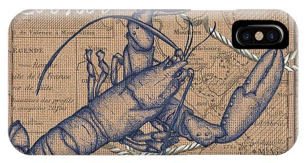 Claws iPhone Case - Burlap Lobster by Debbie DeWitt