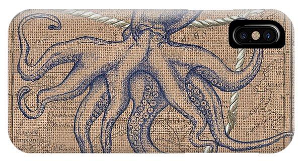Nautical iPhone Case - Burlap Octopus by Debbie DeWitt