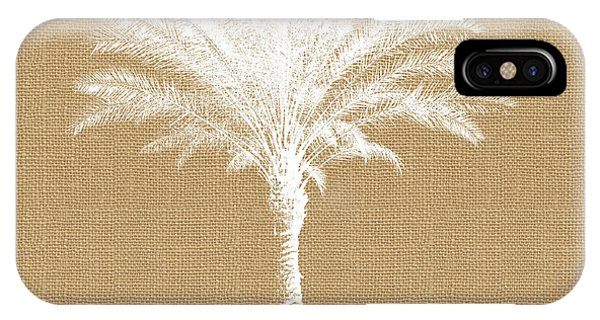 Palm Trees iPhone Case - Burlap Palm Tree- Art By Linda Woods by Linda Woods