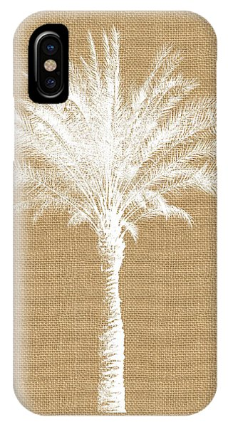 Palm Tree iPhone X Case - Burlap Palm Tree- Art By Linda Woods by Linda Woods