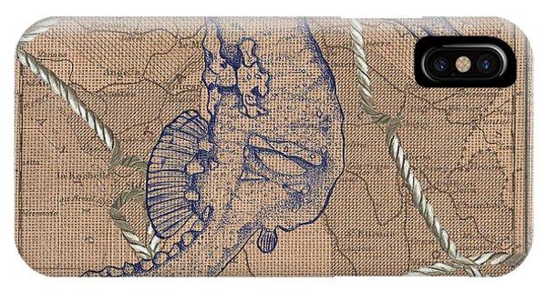 White Horse iPhone Case - Burlap Seahorse by Debbie DeWitt