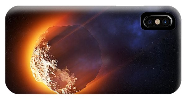 Smoke Fantasy iPhone Case - Burning Asteroid Entering The Atmoshere by Johan Swanepoel