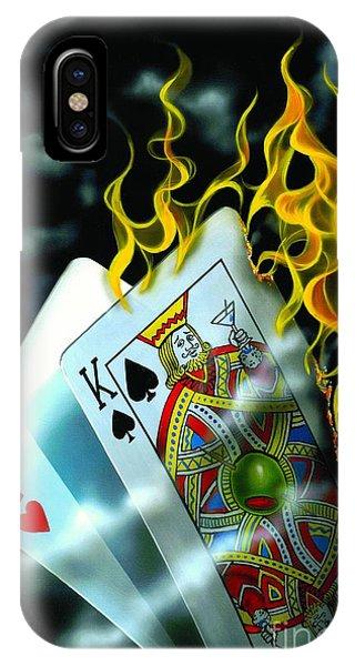 Las Vegas iPhone X Case - Burning Blackjack by Michael Godard