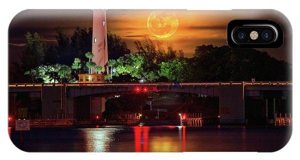 Burning Moon Rising Over Jupiter Lighthouse IPhone Case